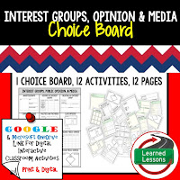 Civics and Government Digital Learning Choice Boards, Google Lessons, Interest Groups, Opinions, Media