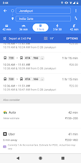 Google Maps now displays Auto Rickshaw mode for public transport in Delhi.