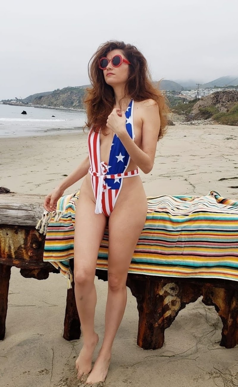 Blanca Blanco Clicked in American Flag Colors Swimsuit at a Beach in Malibu 7 Jul -2020