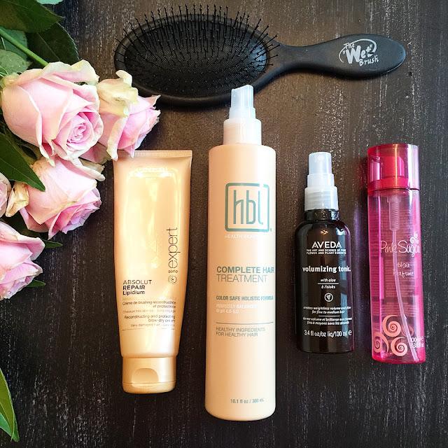 parlor girl hair care routine HBL complete treatment avid volumizing tonic pink sugar hair spray wet brush boreal absolut