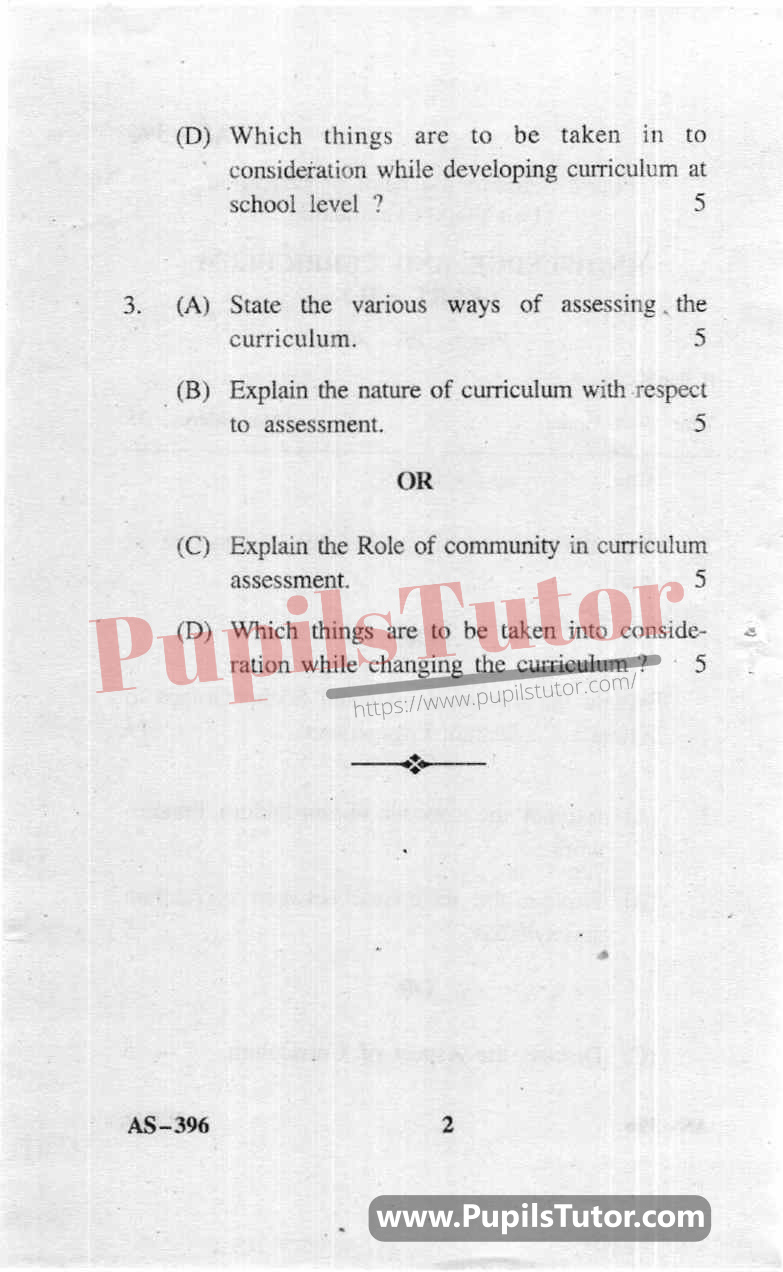 Knowledge And Curriculum Part 2 Question Paper In English