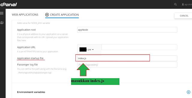 form input target file utama folder nodejs di cPanel