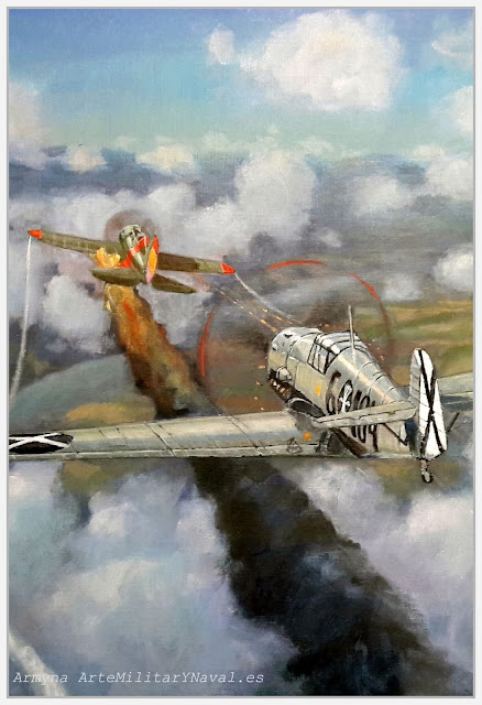 Óleo Rata vs Bf-109