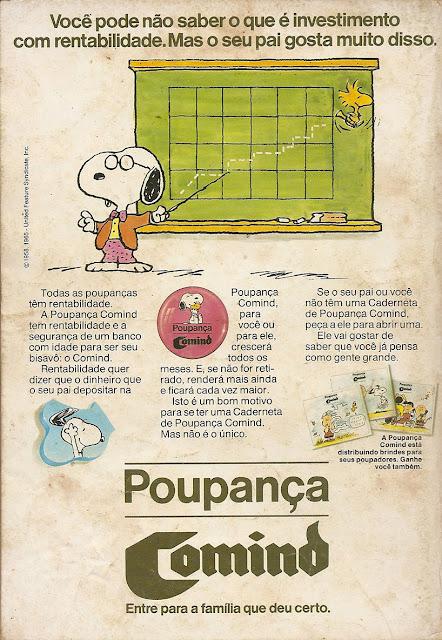 Propaganda da Poupança Comind, em 1985: foco no público infantil e adulto