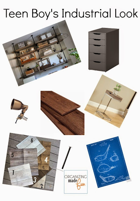 Teen Boy's Industrial Look Mood Board :: OrganizingMadeFun.com