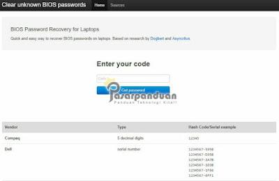 cara reset password bios