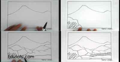 Cara menggambar pemandangan gunung merapi step by step