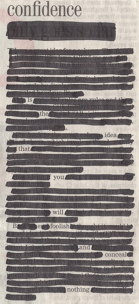 Newspaper Blackout poetry project