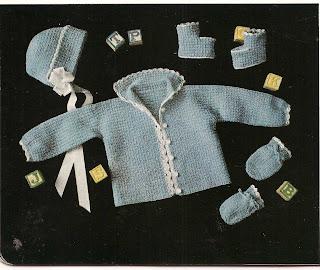 Three Piece Crochet Baby Boy Layette Pattern