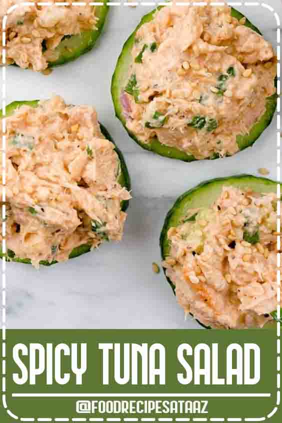 4.5 ★★★★★ | This amazing spicy tuna salad made with Sriracha tastes just like a spicy tuna roll but is made with canned tuna. Use it for sushi, salad, sandwiches, bowls, and more. #Canned #Tuna #Healthy #LowCarb