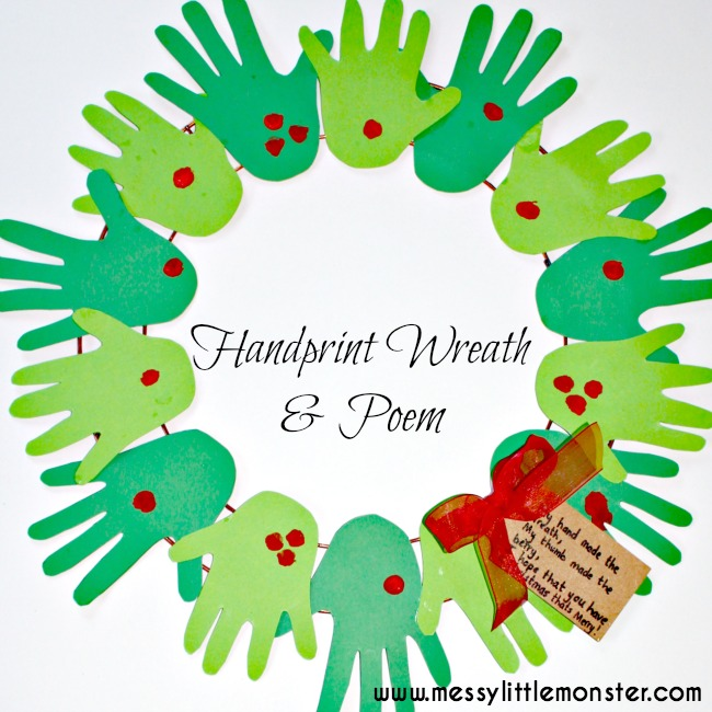 handprint christmas wreath craft for kids with poem
