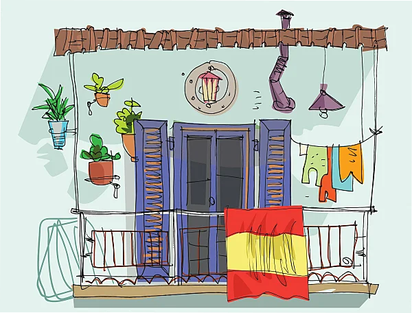 Balcón con bandera de España como resistencia contra el coronavirus