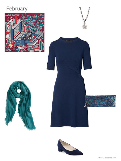 a navy dress with teal accessories