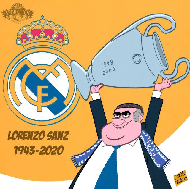 Real Madrid president Lorenzo Sanz cartoon
