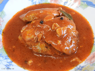 Ostropel de pui reteta de casa rapida cu carne prajita si sos tomat din bulion faina si usturoi retete mancare tocana tocanita dobrogeana traditionala,