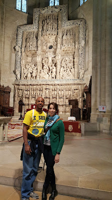 In front of the beautifully carved marble altar in the cathedral in Huesca
