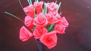 Gambar Bunga Mawar Dari Sedotan Plastik Bekas
