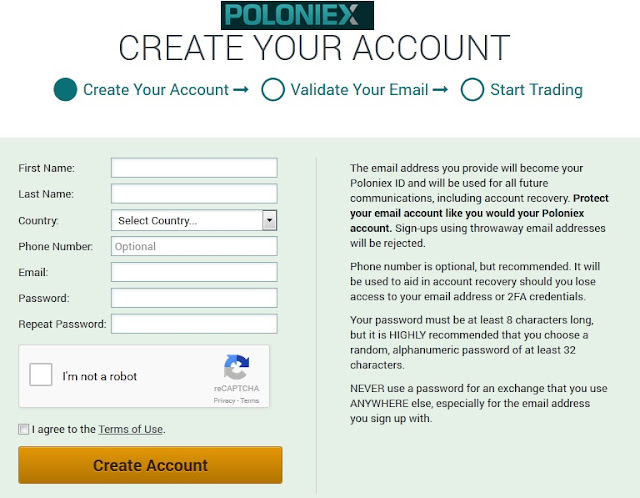 how to send coin from poloniex