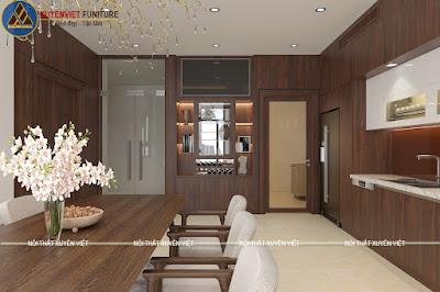 Tủ bếp nhựa laminate vân gỗ có hệ tủ rượu âm tường