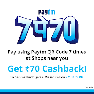 Paytm introduces '7Pe70' Guaranteed Cashback for in-store QR payments