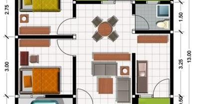 contoh denah rumah type 45 - aristek sederhana