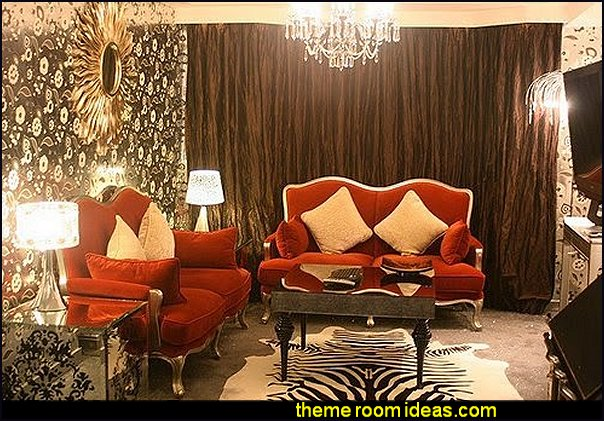 Modern glam moulin rouge style modern victorian bedrooms red lips decor chandelier red furniture