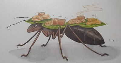 Peter Pixie drawing ant table with food