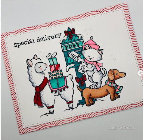 Special Delivery by Mary Reiner features Holiday Post and Llama Delivery by Newton's Nook Designs; #newtonsnook, #inkypaws, #cardmaking