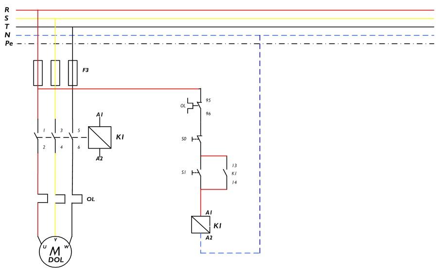 Gambar rangkaian kontrol & daya untuk motor DOL ( di dalam panel )