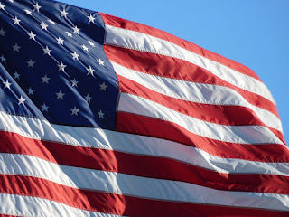 Image of American Flag Waving in the Wind