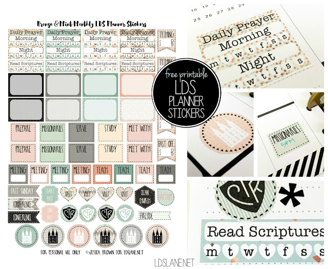 free printable LDS Planner Stickers by My Planner Envy - great for organizing scripture study, tithing, visiting teaching, etc. ldslane.net