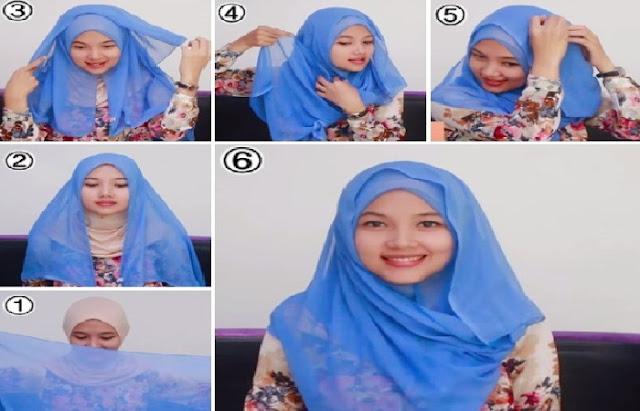 cara memakai hijab segi empat paris untuk remaja