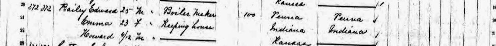 Climbing My Family Tree: 1875 Kansas State Census, Edward Bailey