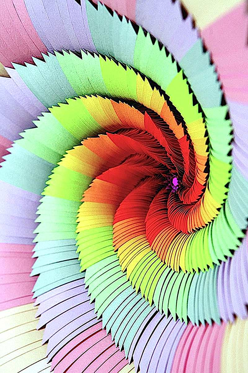 Jen Stark papercut art, a color spiral