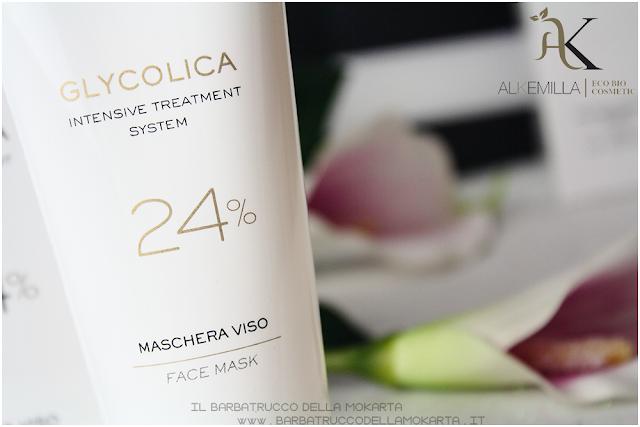 maschera viso 24 recensione trattamento acido glicolico GLYCOLICA alkemilla cosmetics