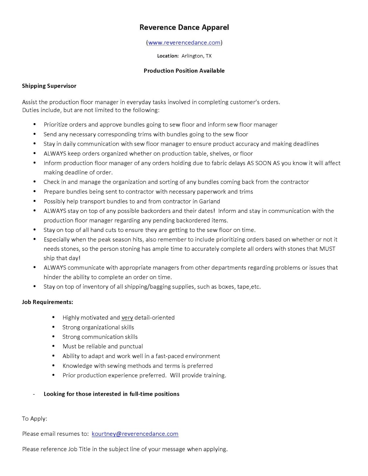Fashion Design Internship Resume