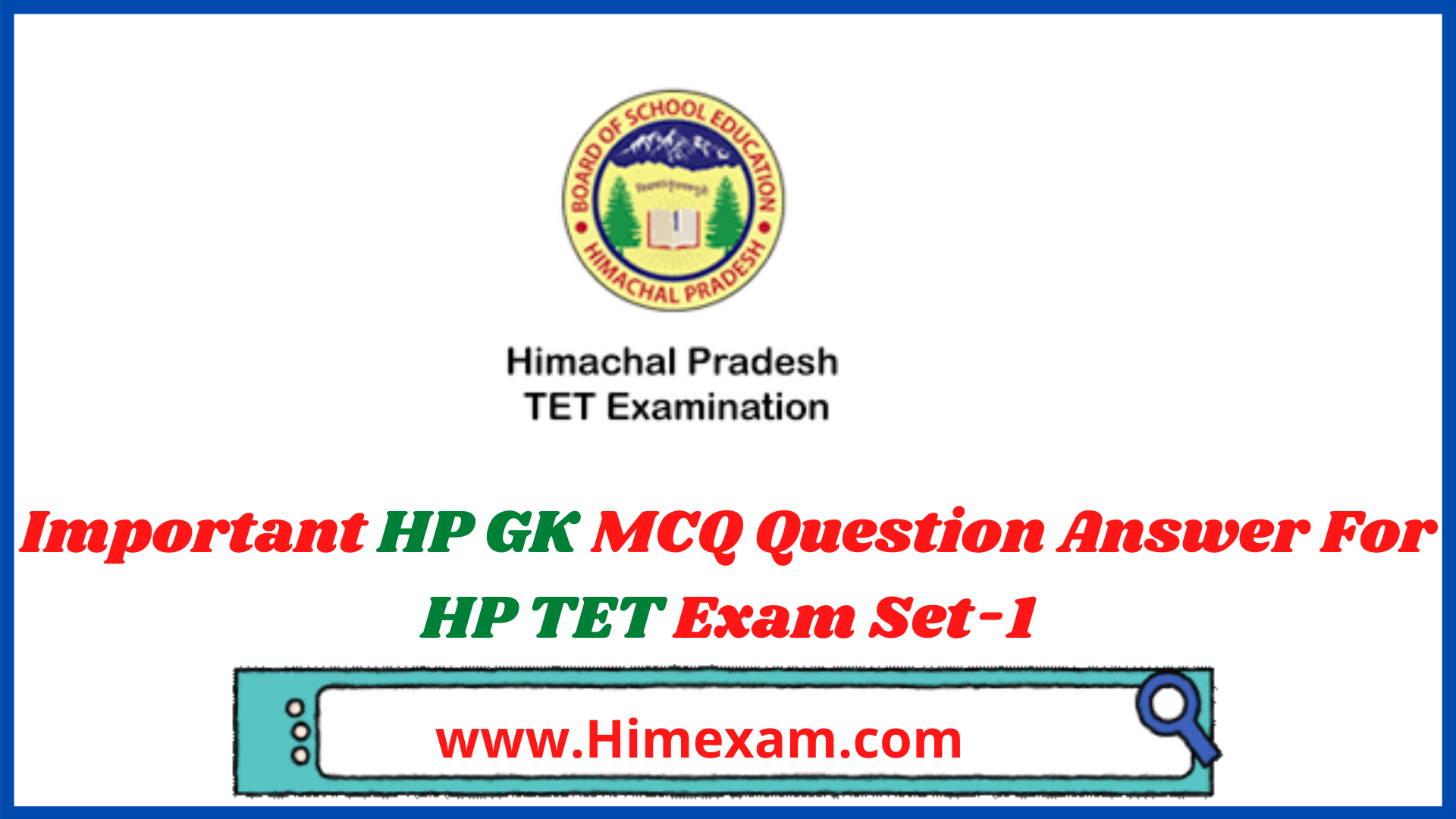 Important HP GK MCQ Question Answer For HP TET Exam Set-1
