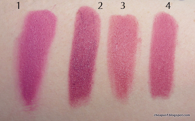 Swatches of 1. Urban Decay Vice Lipstick in ZZ; 2. Revlon Berry Haute; 3. L'Oreal La Lacque in Choco-Lacque; and 4. Maybelline Creamy Matte Lust for Blush.