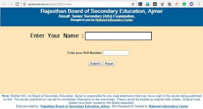 RBSE 10th Result 2019 Name Wise Result Rajasthan Board 10th Results