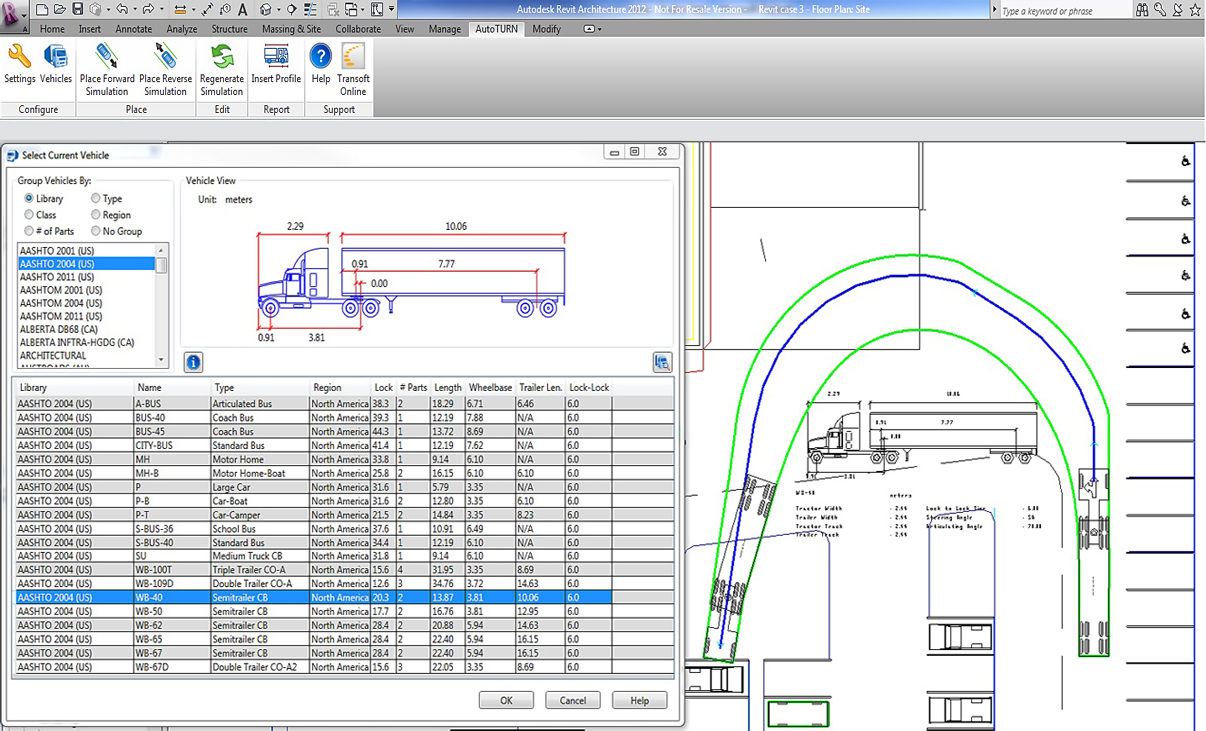 Revit add ons autoturn for revit for Vehicle swept path templates