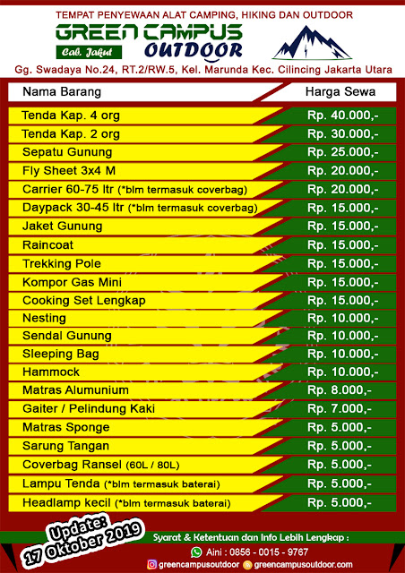tempat sewa alat outdoor di Jakarta Utara dengan harga terjangkau, barang berkualitas, syarat mudah, proses cepat