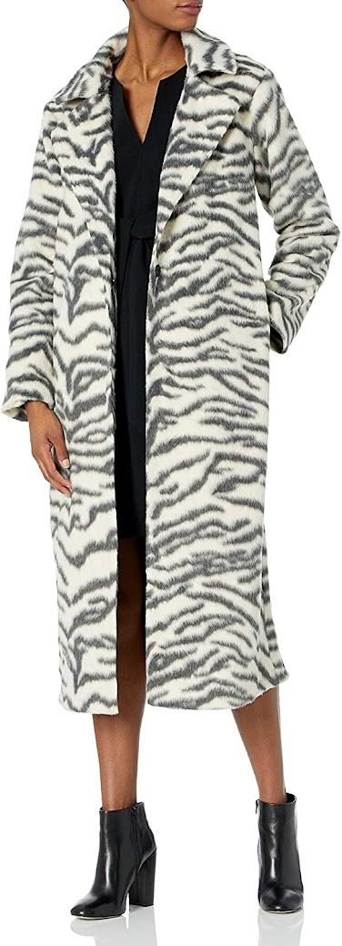 Zebra Animal Faux Fur Coats Jackets for Women