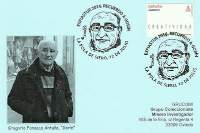 Tarjeta del matasellos de EXFIASTUR 2016, homenaje a Gregorio Antuña, Gorín