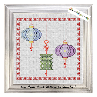 chinese laterns cross stitch pattern to download for free
