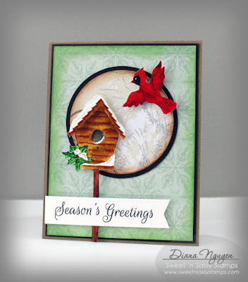Diana Nguyen, Sweet 'n Sassy Stamps, bird, Christmas card