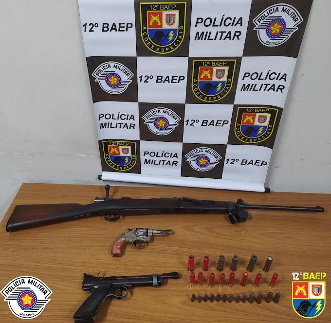 Polícia Militar apreende armas e munições dentro de residência na área rural de Araçatuba