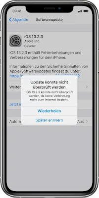 software update failed ios 13
