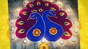 Easy Peacock Rangoli Design for Diwali to Welcome Goddess Lakshmi