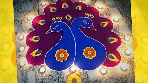 Easy Peacock Rangoli Design for Diwali to Welcome Goddess Lakshmi