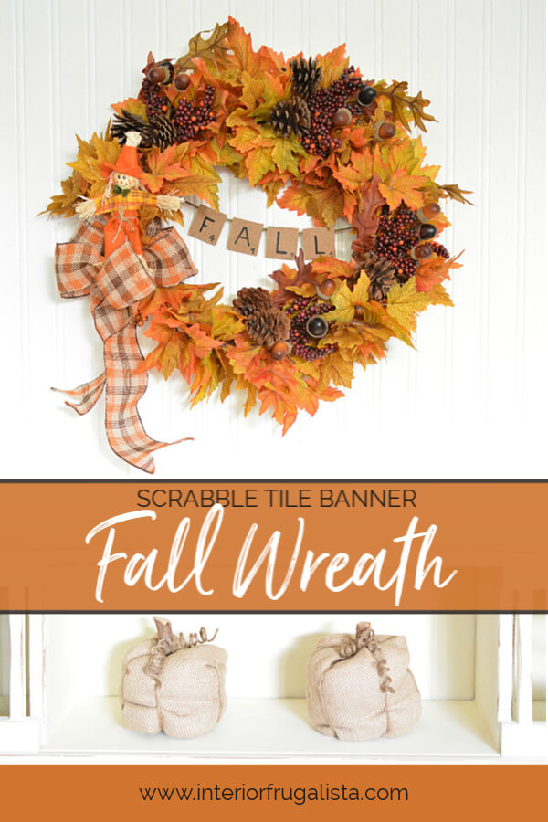 Scrabble Tile Banner Fall Wreath